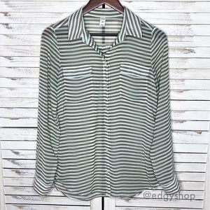 Old Navy | Striped Chiffon Button Down Top Blouse